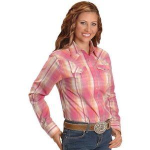 Wrangler Studded Pink Plaid Western Shirt